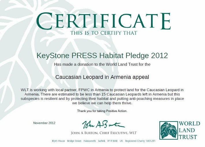 World Land Trust donation certificate 2011/12